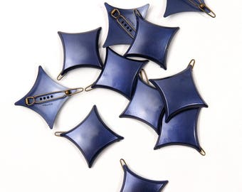 Navy Blue Star French Barrettes 1980's
