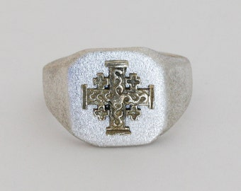 Men silver signet ring with gold Jerusalem cross, Gift for him made in Israel.