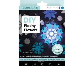Flashy Flowers - Light-Up Paper Flowers Kit - Blues - STEM - Light-Up - Craft Kit - Christmas Gift for Crafter - Christmas Gift for Girls