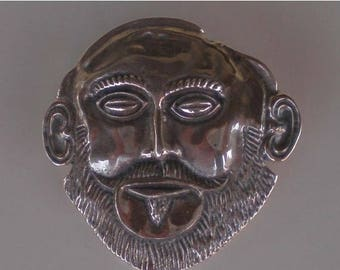 For Sale Mask of Agamemnon Silver Pendant- Brooch - Pin- Ancient Greece-High Quality Item