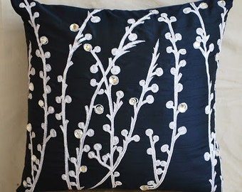 Decorative Throw Pillow Covers Accent Pillow Couch Pillow 20x20 Navy Blue Silk Pillow Case Embroidered Home Living -Navy Blue Willow