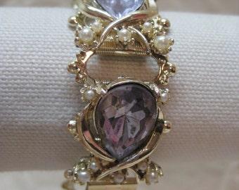 Rhinestone Purple Pearl Bracelet Gold Vintage Chunky