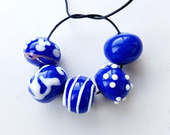 5 pc hollow lampwork glass beads,Murano glass beads