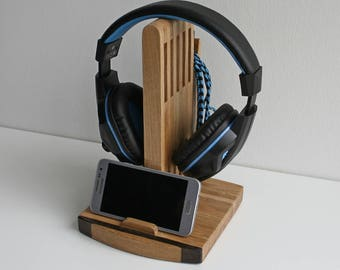 Handyständer+Kopfhörer Halter Kopfhörerständer,headphone holder,headset stand ,Headphone hanger,Handy Ladestation Docking Station