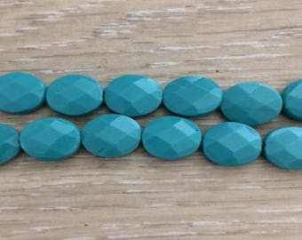 Faceted Oval Flat Quartz, Turquoise Quartz, Blue Quartz, 14x10 mm