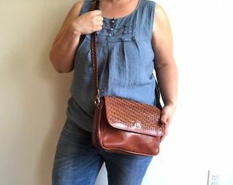Vintage Brown Woven Leather Crossbody Handbag by Etienne Aigner