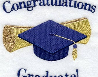 Congratulations Graduate embroidered floursack teatowel/ handtowel