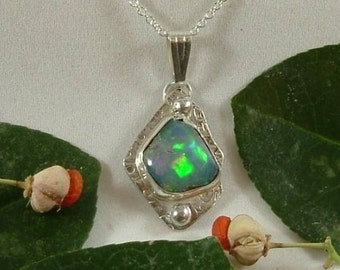Ethiopian Fire Opal Necklace Sterling Silver Handmade Large Gem Statement Necklace Blue, Green, Pink Yellow Orange Fire 776