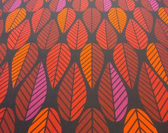 Tablecloth black red orange pink leaves Abstract Modern Scandinavian Design , napkins , runner , curtains , pillow covers , great GIFT