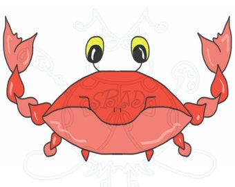 Crab Boy Digital Clip Art Hand Drawn Instant Download Digital Artwork sea life animal character children beach summer red printable clip art