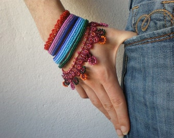 Fuchsia Loxensis  ... Freeform Crochet Cuff