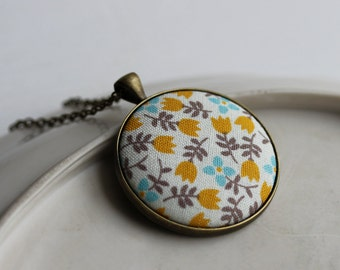Tulip Necklace, Mustard Yellow Boho Jewelry, Large, Flower, Floral Fabric Pendant