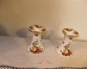 Pair Of Royal Albert Candelsticks