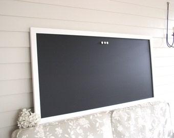 HUGE Magnetic Chalkboard - White Handmade Frame Restaurant Menu Board 24 x 48 Office Bulletin Board Home or Corporate Office Conference Room