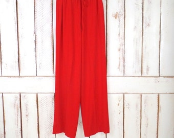 90s vintage red wide leg palazzo pants/red stretch lounge pants
