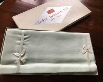 Vintage never used Stoffel Table Damask set mint green