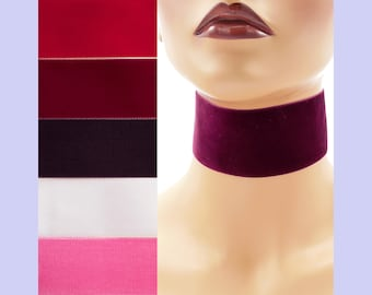 """Extra Wide 2-inch Red or Purple Velvet Choker Custom made Your Length and Color shade (approximate width 2 inches; 50 - 51 mm; 2"""") Burgundy"""