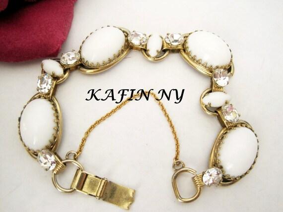 Kafin NY Bracelet - Milk Glass Bracelet - White Cabachon - Rhinestone - Gold Tone Links