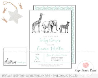 Zoo Baby Shower Invitation Set | Printed or Printable Invitation | Safari Baby Shower | Jungle Baby Shower | Thank You Card | Animal Invites