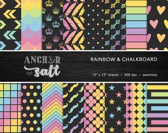 Rainbow & Chalkboard Digital Paper Set -- Colorful, Rainbow and Gray, Darks and Pastels, Scrapbook, Seamless -- Personal or Commercial Use