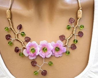 Purple and Green Flower necklace lilac