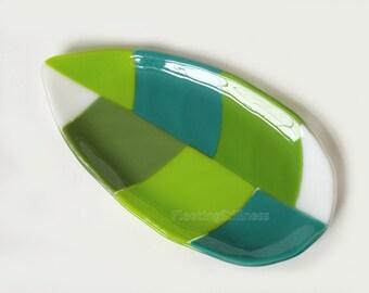 Green Fused Glass Platter Fused Glass Serving Dish Leaf Art Glass Plate Handmade