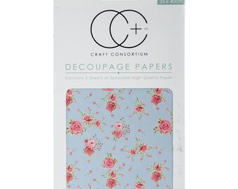 Craft Consortium Decoupage Papers - Antique Rose - Blue