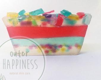 confetti soap, birthday party soap, celebration soap, celebration gift, confetti, kids soap, kids natural soap, cake soap, birthday cake