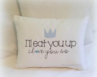 I'll Eat You Up I love You So-12x16 pillow cover- Handmade Pillow Cover-Nursery Room Decor-Baby Boy Keepsake Nursery Gift-Gingham Crown