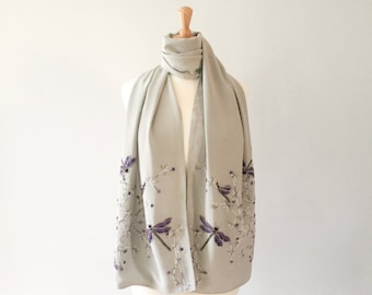 Dragonflies scarf, purple, lilac, silver and hematite on silver grey silk