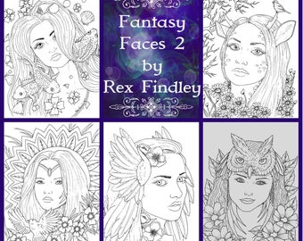 Adult Coloring pages - Fantasy Faces 2 by Rex Findley - PDF download