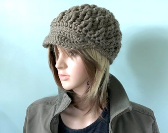 Wool Brimster in Mocha, Basic Brown  - Textural, crocheted using  Chunky Wool Yarn - Women Girl Teen - Ready to Ship