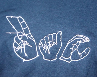 Child's ASL T Shirt American Sign Language Name Embroidered on T-shirt (Child Size) - Made to Order