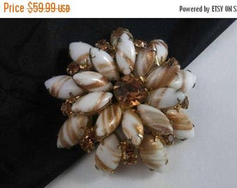ON SALE Vintage Rhinestone Brooch - Large 1950's 1960's Pin - Old Hollywood Glamour Jewelry - White Copper Gold