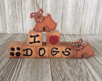 I Love Dogs Wood Blocks