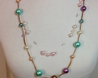 BOGO Pink and White Pearl Necklace with Crystals & Long Turquoise, Purple, White, Pink Pearl Gold Necklace Previously 12 Dollars ON SALE