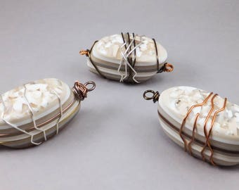 One Handcrafted DIY Focal Wire Wrapped Bead Craft Supply - Beige White Choice of No. 110-112