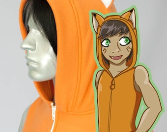 Fox Kitsune Hoodie, Costume, Cosplay, Adult Size, Hand-made