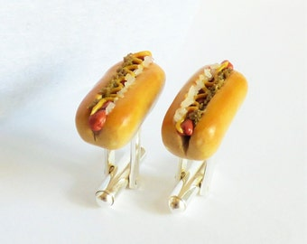 Hot Dog the Works Cufflinks - Delicious Cuff Links - Miniature Food Art Jewelry Collectable - Schickie Mickie Original 100% Handmade