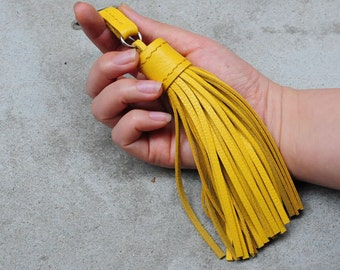 LARGE Type -Yellow Unique and Chic Hand Stitched Cowhide Leather TASSEL Key Chain or Bag Charm-(Pick  Key Ring color)