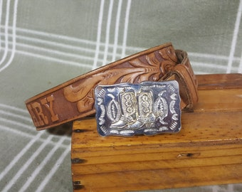 Vintage Calgary Western Tooled Leather Belt w. Cowboy Boots on Belt Buckle