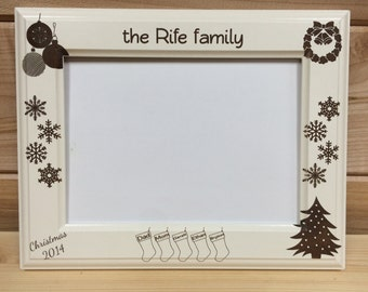 Picture Frame Family Christmas , 4x6 &  5x7, Laser Engraved, Personalized