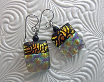 Aztec Copper Dichroic Earrings, Handmade Fused Glass Jewelry from North Carolina