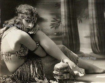 Belly Dancer Flapper Art Print 8 x 10 - Dancing Egyptian Revival Cleopatra Mata Hari Roaring 20s Jazz Age Art Deco
