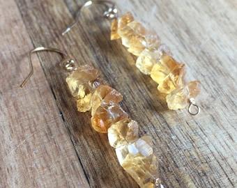 Raw Citrine Earrings - Raw Crystal Earrings - Raw Stone Earrings - Citrine Jewelry - Citrine - November Birthstone Jewelry