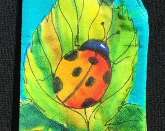 Handpainted Silk Eye Glass Case with Ladybug on Leaf Design