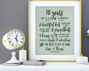 10 Year Anniversary Gift for Men, 10th Wedding Anniversary Gift, 10 Years, 10th Anniversary for Her Parents Anniversary Gift 25 Years 8 x 10