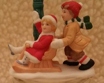 Vintage Lefton, Vintage Figurines,Nina & Filippe, Colonial Village, George Z Lefton, Christmas, Hand Painted ,06737,Christmas Figurines
