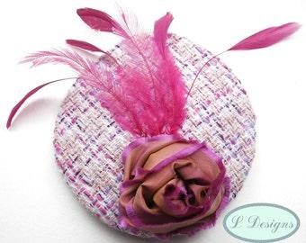 Pink tweed fascinator