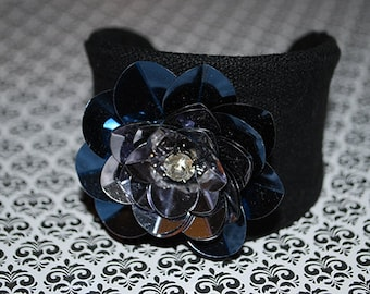 Sequin Cuff, Sequins, Sequin Flower, Black Cuff, Flower, Fabric Bracelet, Gift for Her, Fabric Cuff, Flower, Ribbon, Floral Jewelry, Mom